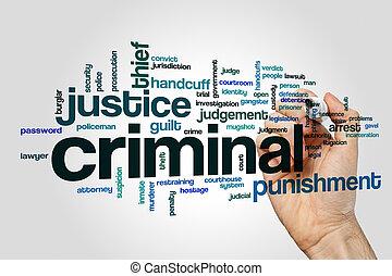 Criminal word cloud on grey background