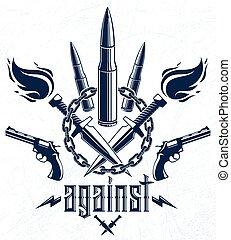 criminale, caos, guerra, elementi, pallottole, anarchia, gangster, vettore, sociale, logotipo, theme., concetto, rivoluzione, disegno, stile, emblema, lotti, pistole, o, tatuaggio, tensione, differente