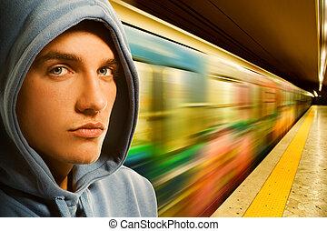 criminale, giovane, sottopassaggio
