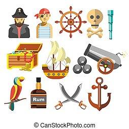 criminales, piratas, tesoro, equipo, marina, barco, marina