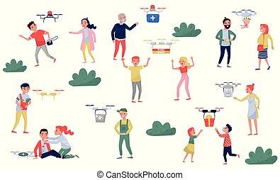 criminali, ordinato, servizio, persone, quadrocopter, illustrazione, trasmettere, distribuire, consegna, scatole, vettore, fondo, scaffalatura, bianco, fuco