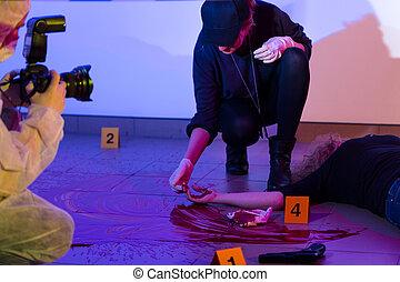 criminalist, scène, fonctionnement, crime