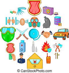 Criminality icons set, cartoon style - Criminality icons...