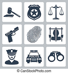 criminal/police, vector, set, vrijstaand, iconen