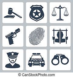 criminal/police, wektor, komplet, odizolowany, ikony
