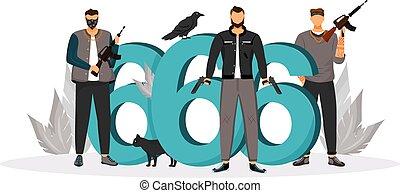 criminals., 性格, 网, 2d, 危险, 动物, 罪犯, 预兆, 邪恶, 矢量, 匪徒, 卡通漫画, 套间, design., 签署, 数字, 想法, 枪, illustration., 武装, 坏, 创造性, 概念