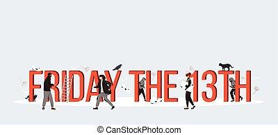 criminals., characters., 灰色, 印刷术, 套间, 创造性, 概念, 坏, 矢量, 卡通漫画, 星期五, 颜色, 日期, 隔离, 迷信, 签署, 第13, banner., 运气, 词汇, 描述, 微小
