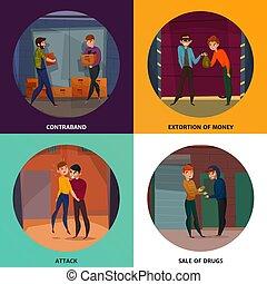 Criminals Concept Icons Set
