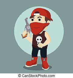 criminals holding gun illustration