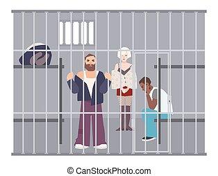 Criminals in cell at police station or jail. Prisoners...
