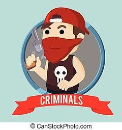 criminals in circle illustration