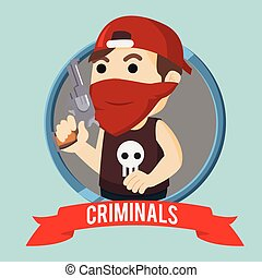 criminals in circle illustration