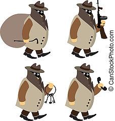Set of cartoon criminals: robber, gangster, housebreaker and blackmailer