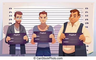 Criminals with mugshot plates in police station
