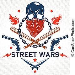 crimine, baseball, emblema, vettore, retro, terrorismo, armi, revolutionary., anarchia, cranio, pipistrelli, ghetto, o, gangster, logotipo, stile, aggressivo, elementi, brutale, disegno, altro