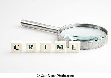 crimine, parola, e, lente ingrandimento