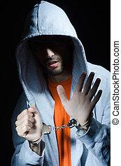 crimineel, handcuffs, jonge