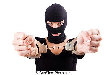 crimineel, handcuffs, jonge, vrouwlijk