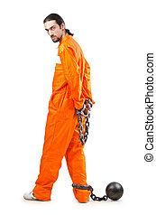 crimineel, in, oranje kamerjas, in, gevangenis