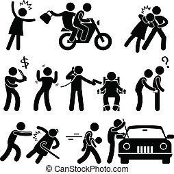 crimineel, inbreker, rover, kidnapper