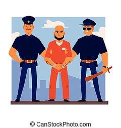 crimineel, kantoorbediendeen, illustration., escorte, of, ...
