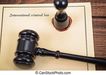 criminel, concept., cachet, juge, notary, marteau, droit international