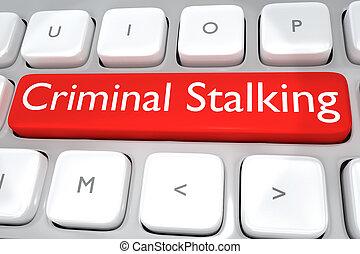 criminel, concept, marcher dignement