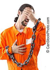 criminel, dans, robe orange, dans, prison