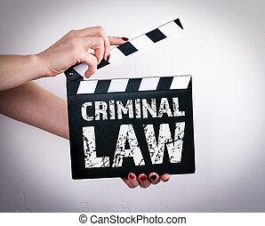 criminel, femme, battant, film, concept., tenant mains, droit & loi