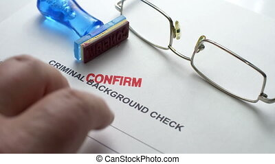 criminel, fond, chèque, formulaire, confirmer