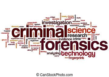 criminel, mot, nuage, forensics