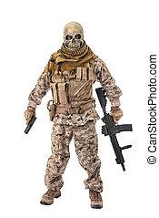 criminel, unrecognizable, tenue, rifle.