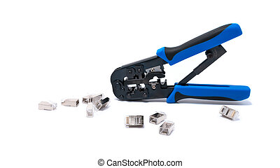 Crimping tool isolated on white background, use for twisted...