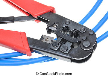 Crimping tool with a computer network cable