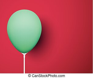 Crimson background with green realistic 3d balloon.