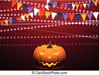 Crimson background with party flags and Jack-O-Lantern pumpkin