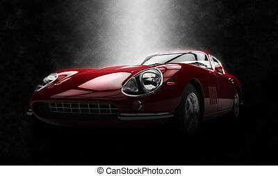 Crimson classic sports car - epic lighting effect