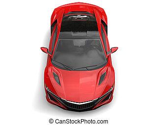 Crimson futuristic sports concept car - top down view