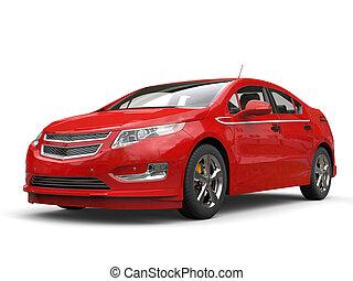 Crimson modern electric car - studio shot