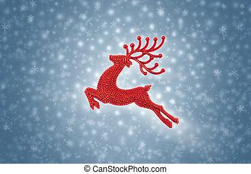 Crimson red reindeer moose jumping on snow background
