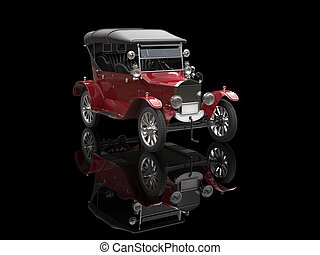 Crimson red vintage car on black reflective background
