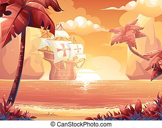 Crimson sun, sunrise or sunset on the sea with galleon