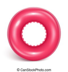 Crimson Swimming Circle. Inflatable rubber toy for child...
