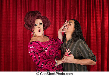 Cringing Transvestite and Kissing Man - Embarrassed drag...