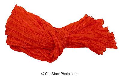 Luxurous orange crinkle silk scarf, tied, isolated on white.