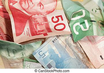 Crinkled Canadian dollar bills closeup - Crumpled Canadian ...