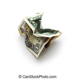 crinkled dollar bill isolated