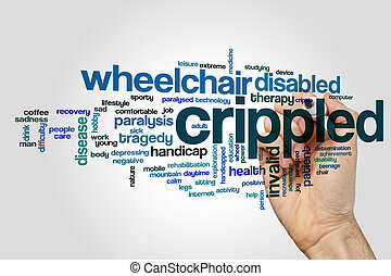 Crippled word cloud concept on grey background