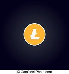 Cripto logo coin: Litecoin - Litecoin Cripto. Gold coin with...