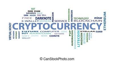 criptocurrency, szó, felhő, fogalom, white, háttér